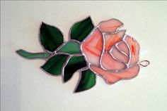 Stained Glass Coral Rose Suncatcher, wall hanging by StainedGlassandPens on Etsy