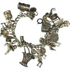 Sterling Silver Charm Bracelet 25 Vintage Charms