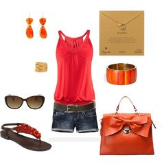 Red & orange summer outfit