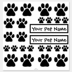 Shop Stickers - Puppy Paw Prints created by Whimsicality. Stencils For Wood Signs, Personalized Stickers, Pet Puppy, Decorated Water Bottles, Sticker Shop, Dog Paws, Pet Names, White Ink, Cute Stickers