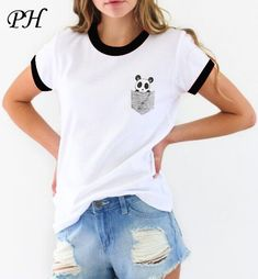 cff815287269d5 2016 Summer Fashion Women T Shirt Harajuku Funny Pocket Panda Print Tshirt  Short Sleeve T-