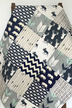 Baby Quilt, Boy, Moose, Bow and Arrow, Stag, Woodland,Birch Forest, Deer, Navy, Mint, Gray, Modern,Crib Bedding, Baby Bedding, Children by CoolSpool on Etsy https://www.etsy.com/listing/239016542/baby-quilt-boy-moose-bow-and-arrow-stag