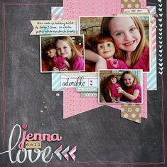Jenna doll Love layout by Sarah Webb