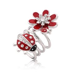Fashion T400 brand crystal Flower and ladybug ring Double pattern women finger…