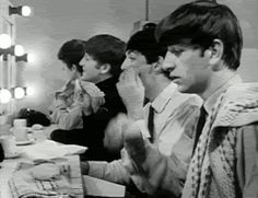 Aww!!! Look at how Ringo does his hair! And then there's Paul and John doing their makeup <3 gif