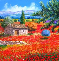 Diamond Painting Red Flower Sea Cottage Paint with Diamonds Art Crystal Craft Decor Landscape Art, Landscape Paintings, Art Atelier, Fine Art, Pictures To Paint, Beautiful Paintings, Painting Inspiration, Scenery, Art Gallery