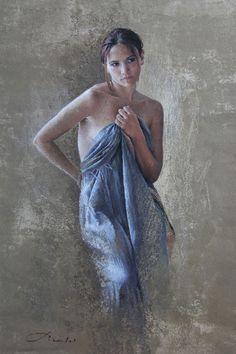 Jeune femme debout, drapée d'un tissu bleu azur - N. Picoulet