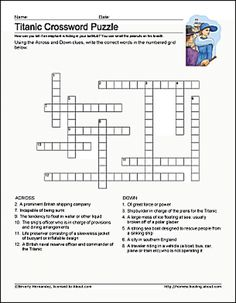 Free Printable Titanic Worksheets and Coloring Pages: Printable Titanic Crossword Puzzle