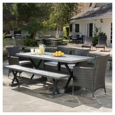 Ponza Outdoor Picnic Dining Set by Christopher Knight Home (Brown), Size Sets, Patio Furniture (Iron) Dining Set With Bench, Wicker Dining Set, 5 Piece Dining Set, Outdoor Dining Set, Patio Dining, Indoor Outdoor, Outdoor Living, Outdoor Furniture Sets, Outdoor Decor