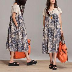 Taille haute de couleur sort en vrac robe lin / summer par dreamyil, $98.00