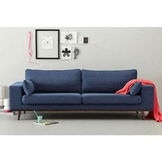 whkmp's OWN bank Torino Blue Couches, Mid Century Furniture, Living Room Inspiration, Home Living Room, Living Area, Beautiful Interiors, Love Seat, Home Furniture, New Homes