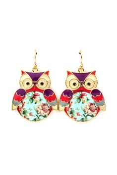 Shabby Chic Owl Earrings on Emma Stine Limited