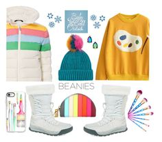 """""""Let's Paint a Rainbow"""" by kimzarad1 ❤ liked on Polyvore featuring Topshop, Perfect Moment, New Balance, Sophie Hulme, Kate Spade, Casetify and pompombeanies"""