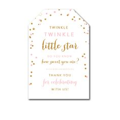 Thank You Tags - Twinkle Twinkle Little Star - Favor Tags Baby Shower Birthday - Instant Download Printable