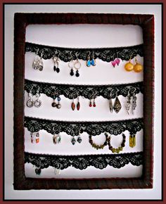 Earring Frame -- This would be a really fun way to store earrings!