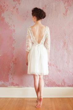 we ADORE this open lace back by Sarah Seven!