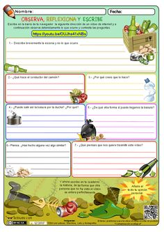 Observa, reflexiona y escribe 07 Spanish Classroom Activities, English Activities, Teaching Spanish, Ap Language, Ap Spanish, Kids Writing, Writing Ideas, Science For Kids, Rubrics