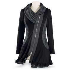 Black Shawl Cowl Tunic - Women's Clothing & Symbolic Jewelry – Sexy, Fantasy, Romantic Fashions - 1X