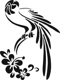 Stancil Schablone Papagei /Hibiskus