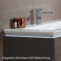 Villeroy & Boch Legato Meuble sous-lavabo avec LED pour 2 lavabos à poser avec 4 tiroirs sur rails Façade: blanc brillant / Corps: blanc brillant