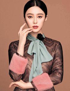 Fan Bingbing in a beautiful Gucci dress during the SELF China August 2015 shoot
