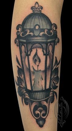old lantern tattoo, by Monique Peres