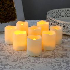 Lights.com | Flameless Candles | Votive | Melted Edge Flameless Resin Mini Votives with Remote, Set of 8