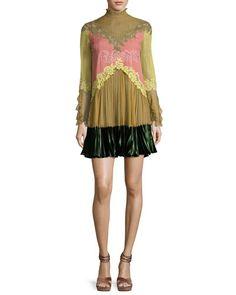 Valentino Lace-Trim Long-Sleeve High-Collar Dress