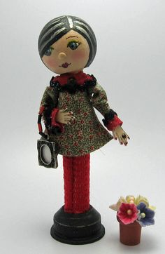 Clothespin Doll - Country Shabby Chick In Red & Black Long Sleeved Dress. $25.00, via Etsy.