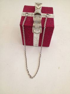 Judith Leiber Pink and Clear Rhinestone Present Clutch image 5