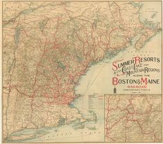 """Boston and Maine Railroad 1909. Summer Resorts. My Granddad  worked many years for the B&M. As a child I had a """"free pass"""" making many trips to Boston."""