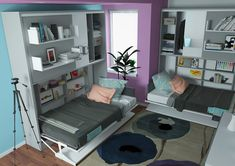 Best space saving wall bed system for kids room. Twin size wall bed with storage cabinet, bookshelves and optional self leveling desk. Parete Letto's universal design will complement any room and provide additional storage for your everyday essentials. Twin Wall Bed, Bed Wall, Living Room Bedroom, Bedroom Decor, Bed Unit, Colored Dining Chairs, Bed Nook, White Laminate, Space Saving Furniture