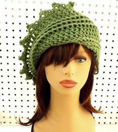 Womens Crochet Hat Womens Hat Trendy Crochet Beanie Hat Sage Green Hat LAUREN Beanie Hat Women by strawberrycouture by #strawberrycouture on #Etsy