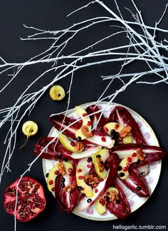 radicchio salad with apple, toasted walnut and pomegrante seeds - photography and food styling by Panka Milutinovits / hello garlic!