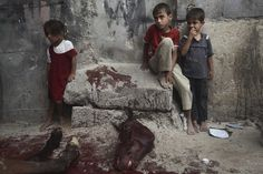 June 15, 2012. Palestinian children stand next to the body of a horse after it was slaughtered for meat in a poor neighborhood in the central Gaza Strip. Horses are slaughtered every twenty days and then the meat is distributed amongst neighborhood residents.