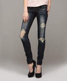 Look at this Machine Jeans Inc. Dark Blue Whiskered Skinny Jeans on #zulily today!