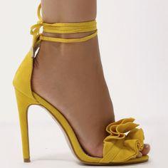 Ruffle Sandal Heels in Yellow