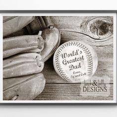 Father's Day Gift Idea - Personalized Baseball Print - World's Greatest Dad - Great gift for that baseball fan!