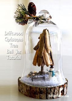 Driftwood Christmas Tree Bell Jar - easy tutorial for creating a driftwood Christmas tree in a bell jar using driftwood and miniature pieces. Driftwood Christmas Tree, Coastal Christmas Decor, Nautical Christmas, Diy Christmas Tree, Christmas Bells, Christmas Decorations, Christmas 2015, Christmas Wishes, Holiday Decorating