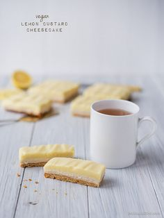 Vegan Lemon Custard Cheesecake Bars by 84thand3rd. These sound wonderful ! vegan , gluten-free, dairy-free , refined sugar-free and soy-free! Would definitely use the custard recipe and/ or cheesecake recipe for other treats too... (And eat them on their own!!)