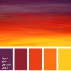 Color Palette - The Color Thesaurus - Orange Sunset Color Palette, Sunrise Colors, Red Colour Palette, Color Schemes Colour Palettes, Orange Color Palettes, Color Combos, Orange Color Schemes, Orange Palette, Decoration Palette