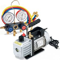 Kit contains CFM vacuum pump aluminum manifold with 72 hoses and quick couplers. Hvac Air Conditioning, Refrigeration And Air Conditioning, Electrical Installation, Electrical Wiring, Electronic Engineering, Mechanical Engineering, 3 Way Switch Wiring, Air Conditioner Parts, Air Car