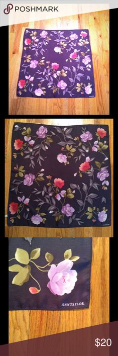 Ann Taylor Silk Scarf Cute floral print 100% silk large square scarf. 26x25 In good condition with no noticeable wear. Ann Taylor Accessories Scarves & Wraps