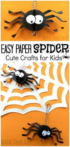Paper Spider Craft - How to make a 3d Spider out of Paper. Oh yes, it is super duper CUTE Halloween Decor time. We love paper crafts, and this adorable Paper Halloween DIY is super easy to make. The kids can make these too and you will have a quick and ea
