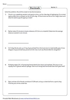 Decimal word problem worksheets contain extensive practice materials which involve problems on addition, subtraction, multiplication and division. Basic Math Problems, Fraction Word Problems, Decimal Multiplication, Addition Words, Math Division, Math Words, Math Journals, Algebra, Decimals Worksheets