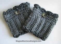 Women / Teen Crochet Boot Cuff with Button - Grey with Black/Grey Multicolor Boot Topper - Handmade $14.95