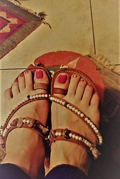 STELLA leather handmade sandals with Semiprecious Stones by artstella on Etsy