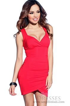 Potential Birthday Dress: Sultry Red Wide Strap Lace and Ruched Party Dress