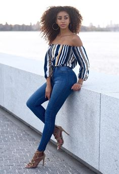 Striped and off-the-shoulder.