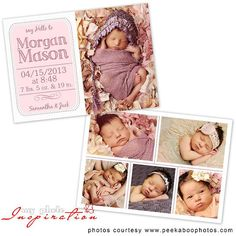 Baby Birth announcement template - Girl Birth announcement - BA058 on Etsy, $8.00